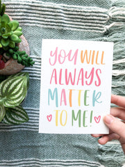 You Matter To Me, Charity Card