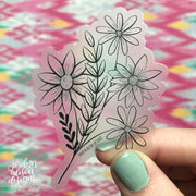 clear floral bundle vinyl sticker