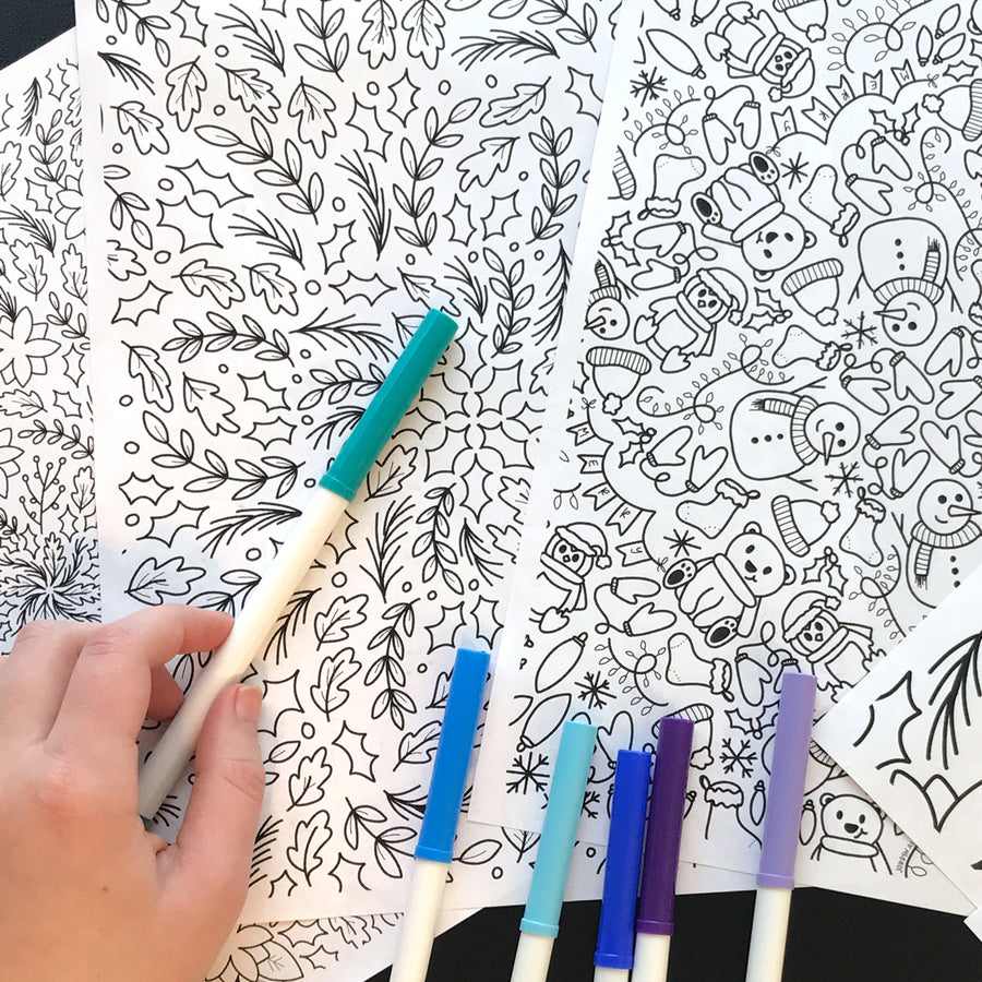 Holiday Leaves Coloring Page