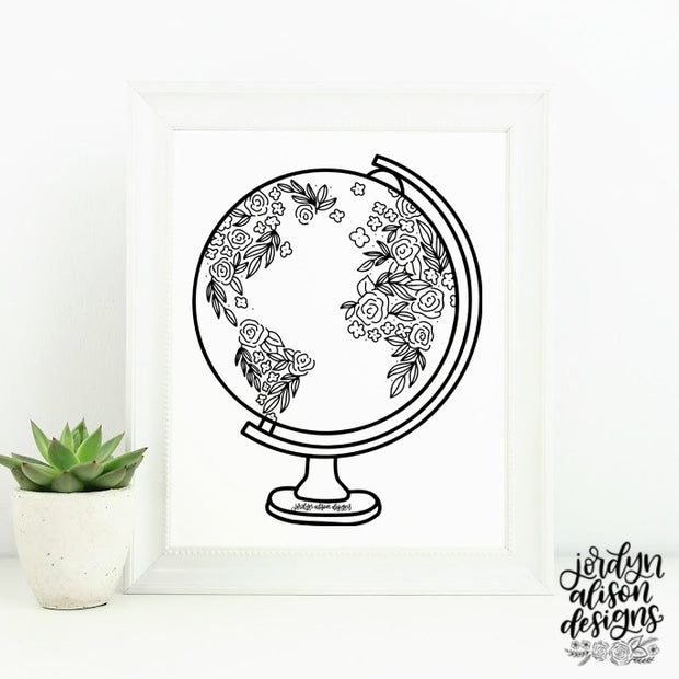 Floral Globe, Instant Download