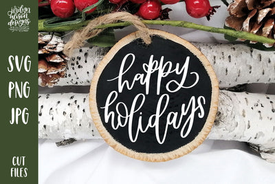 "Handwritten text ""Happy Holidays"" on Round Christmas Ornament."