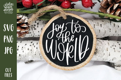 "Handwritten text ""Joy to the World"" on Round Christmas Ornament."