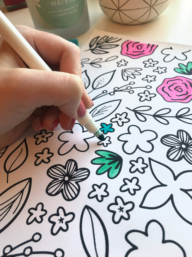 Modern Florals Coloring Page