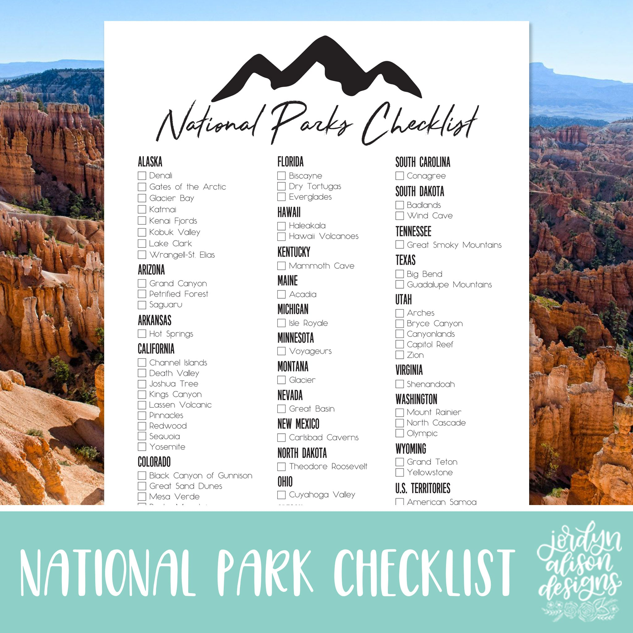 photo about Printable National Park Checklist identified as Nationwide Park Listing JordynAlisonDesigns