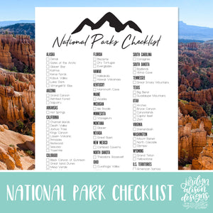 Download your National Parks Checklist today to keep track of what parks you have yet to visit!