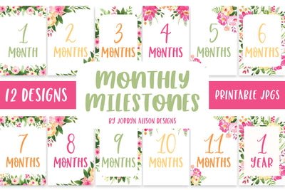 Pink Floral Monthly Milestones