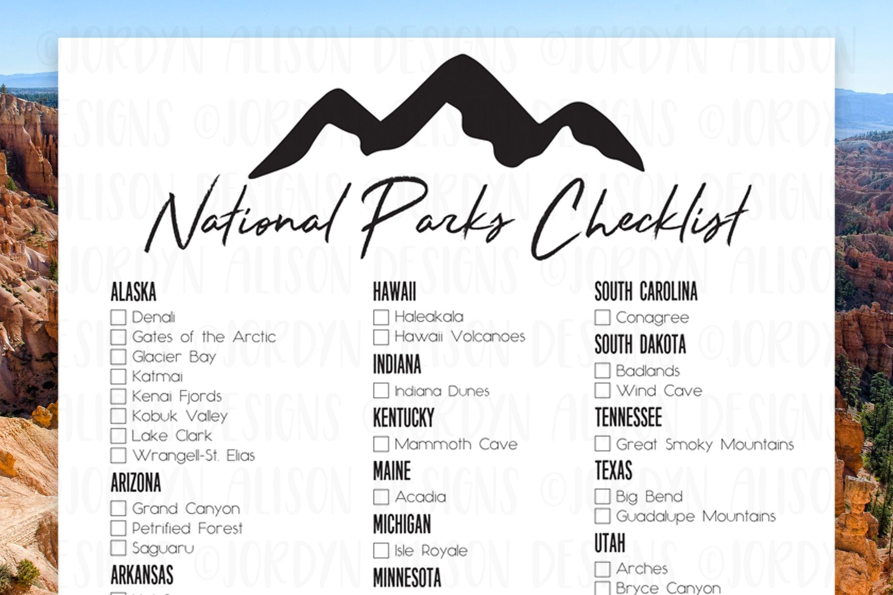 picture relating to Printable National Park Checklist called Countrywide Park Listing JordynAlisonDesigns