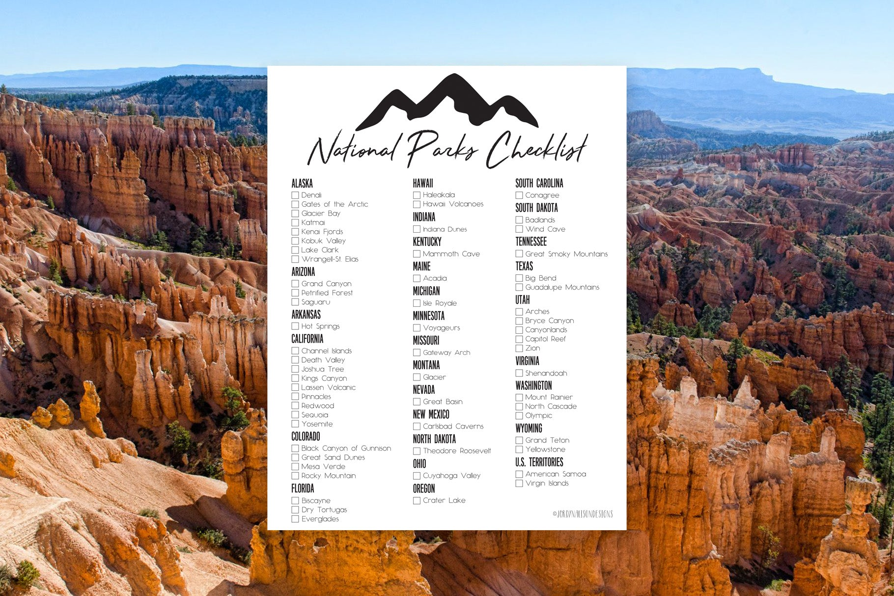 photograph about Printable National Park Checklist referred to as Nationwide Park Record JordynAlisonDesigns
