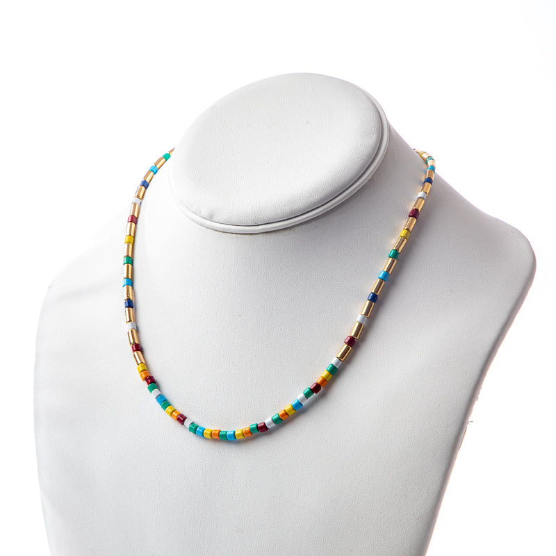 Gold/Rainbow Tube Tile Necklace