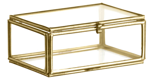 Glasbox mit goldenem Metallrahmen