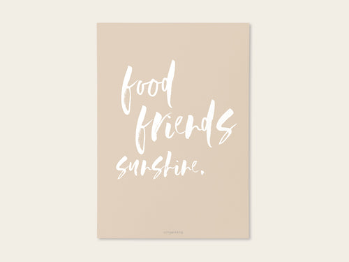 Postkarte / Miniposter food friends sunshine - Schnørkelig