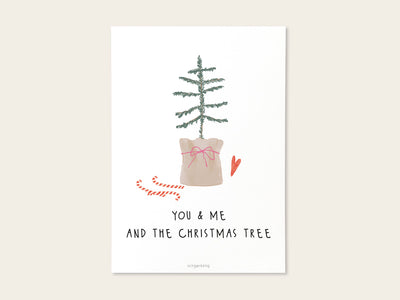 Postkarte / Miniposter You & Me and the christmas tree – Schnørkelig