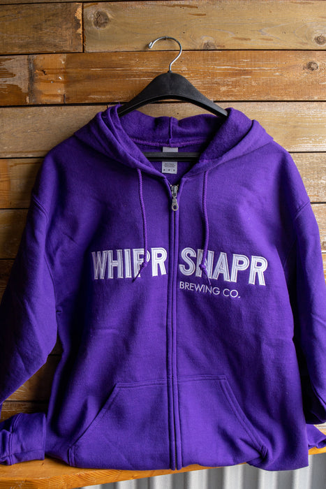 NEW Full Zip Hoody with Embroidered Block Lettering- whiprsnapr purple