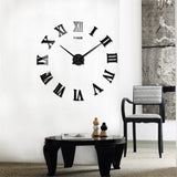 DIY 3D Wall Clock Roman Numerals Large Mirrors Surface Luxury Big Art Clock