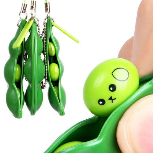 Anti-Anxiety Toy Stress Relief Toy For Adults Autism Pea Pod Keyring Pendant