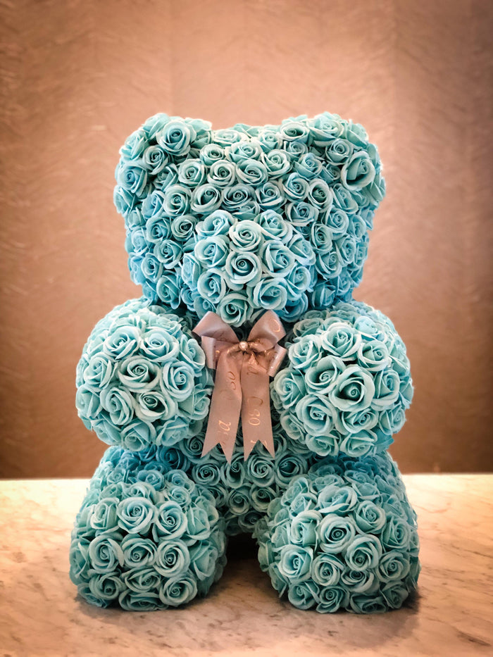 Tiffany blue rose bear- Baby, Sophistication, celebration