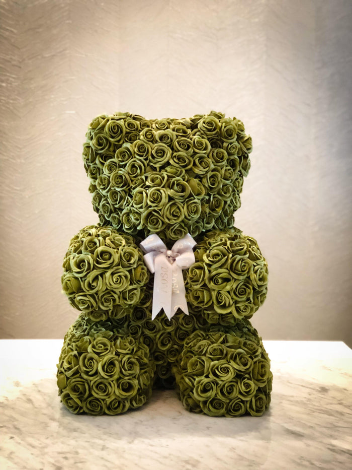 Green rose bear- Elegant, Forever, Peace, Health