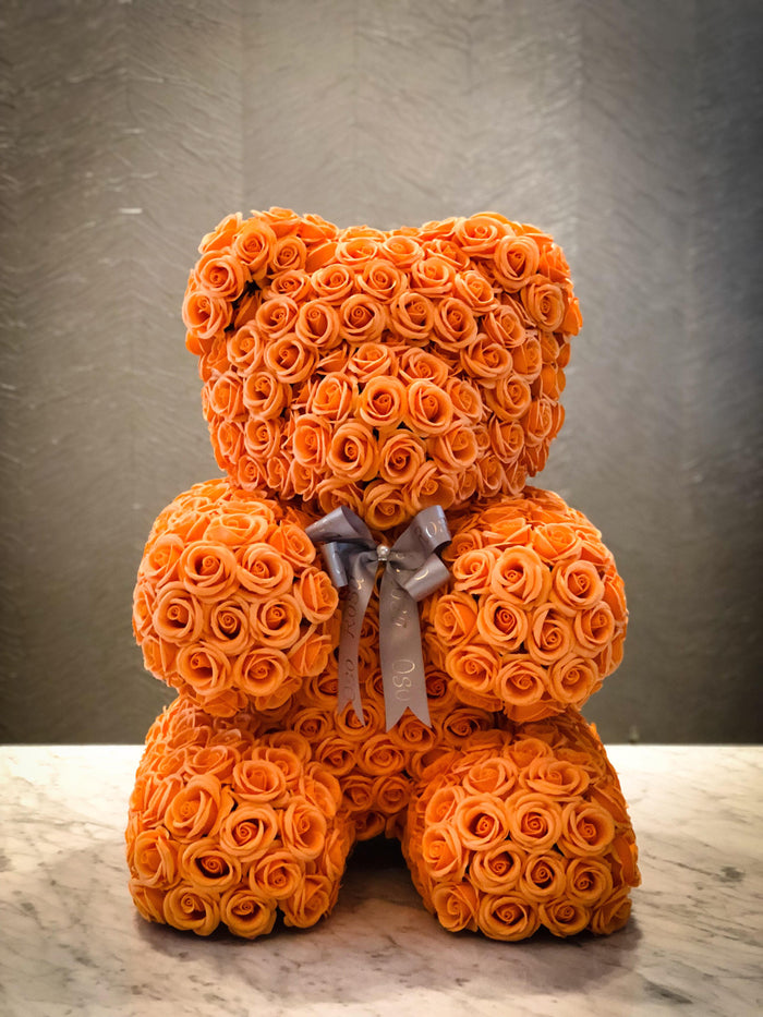 Orange rose bear- Sunshine, Courage, Confidence, Success,