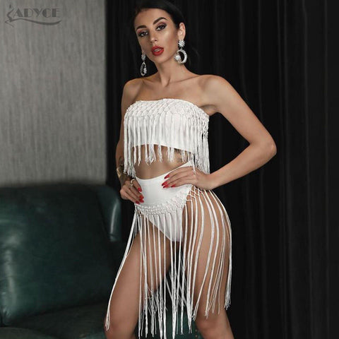 Bandage Dress Women Set White Tops and Pants Tassels Celebrity Evening Party