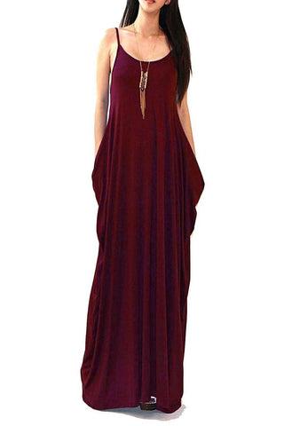 Batwing Oversized Loose Plain Summer Sleeveless Pocket Long Maxi