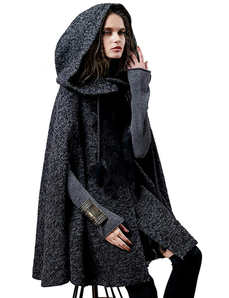 Artka Women's Hoodie Embroidery Turn-Down Collar Woolen Cape One Size