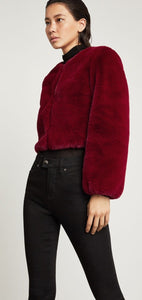 BCBG MAX AZRIA IVY FAUX CROP JACKET RED SIZE LARGE
