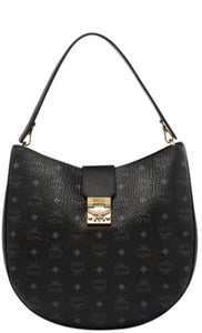 MCM PATRICIA SHOULDER BAG IN VISETOS BLACK - LARGE $795