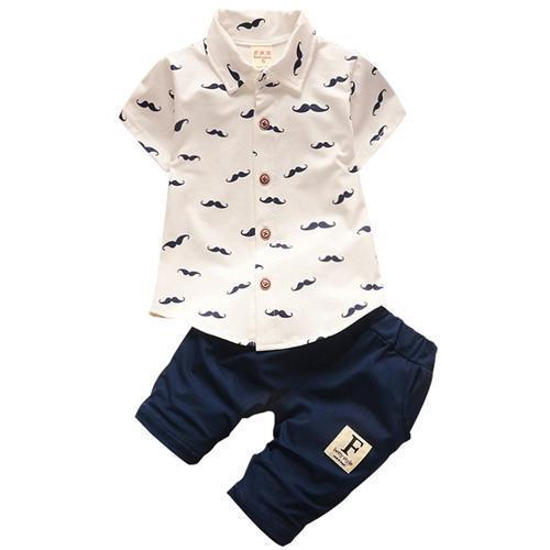 Baby Gentleman White Moustache Shirt & Trousers Set