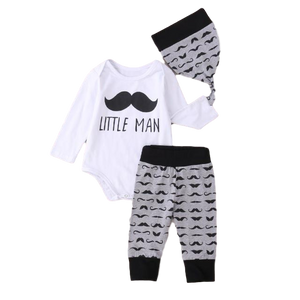 Little Man Moustache Three Piece Set - Romper, Trousers & Hat