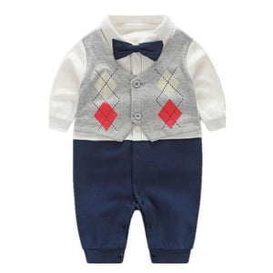 Little Gentleman Romper With Cardigan & Bow Tie