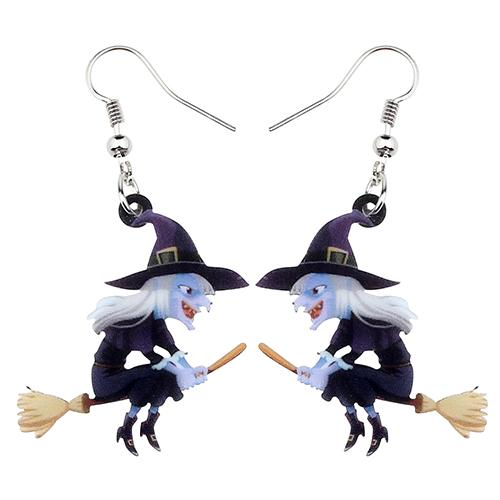 10pcs Witch Acrylic Earrings for Halloween