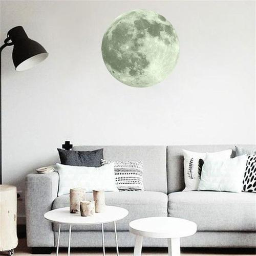 3D Large Moon Fluorescent Wall Sticker Art Home & Garden SoulOnSoul G