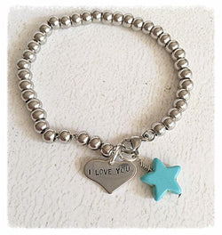 I Love You Hand Stamped Stainless Steel Love Bracelet Jewelry SoulOnSoul