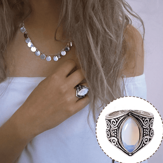 Natural Moonstone Full Moon Ring Jewelry SoulOnSoul