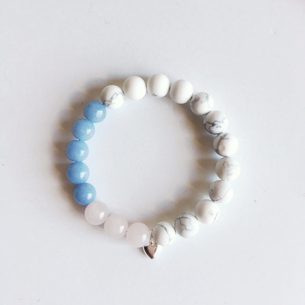 Love Bliss - Angelite, Rose Quartz & White Howlite Bracelet Jewelry SoulOnSoul