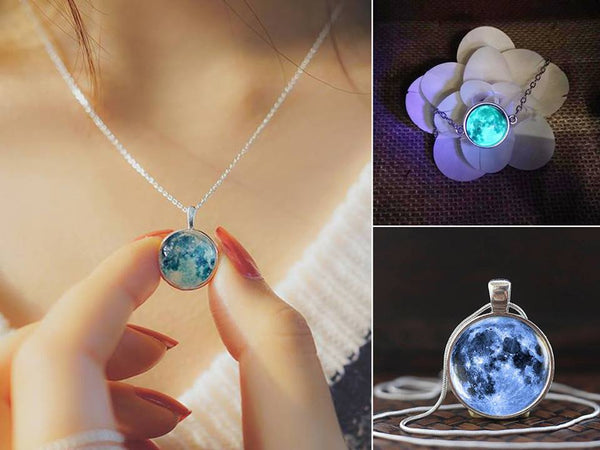 Glow In The Dark Moon Necklace Jewelry SoulOnSoul