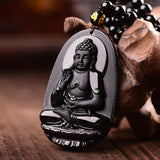 Natural Obsidian Carved Buddha Necklace Jewelry SoulOnSoul