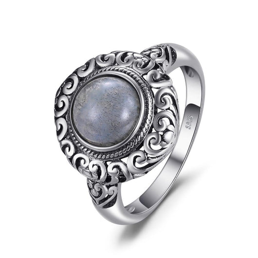 Labradorite Carved Sterling Silver Solitaire Ring Jewelry SoulOnSoul