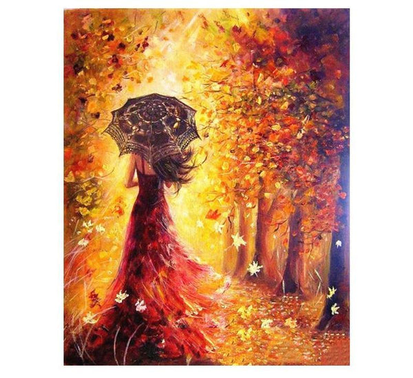 Beautiful Women Autumn Landscape