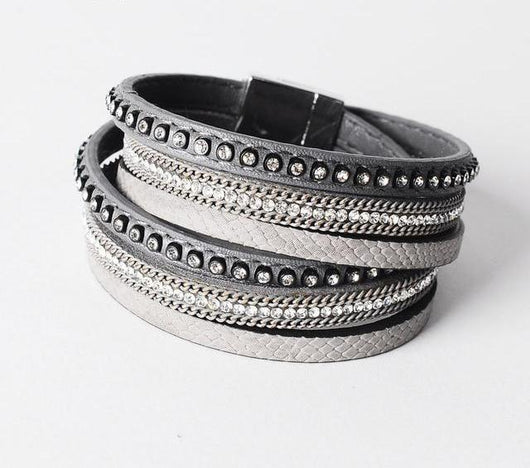 Stunning Leather Charm Wrap Rhinestone Bracelet Jewelry SoulOnSoul Grey