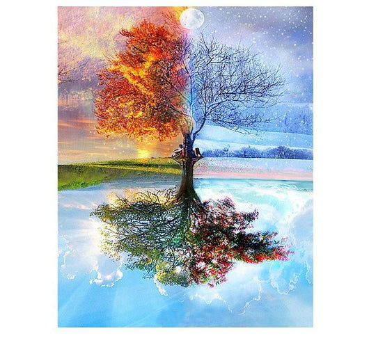 DIY Painting By Numbers - Four Seasons Tree Landscape Home & Garden SoulOnSoul
