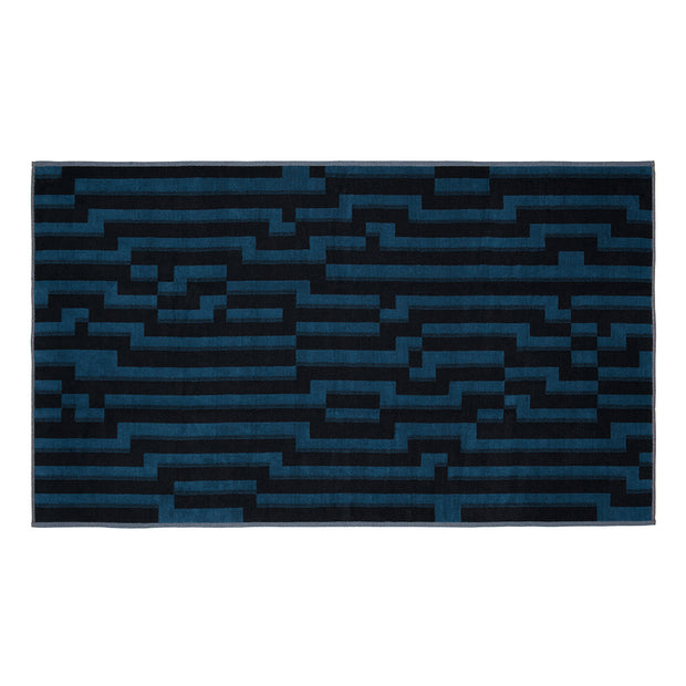 Bitmap Dark Blue Waves Beach Towel