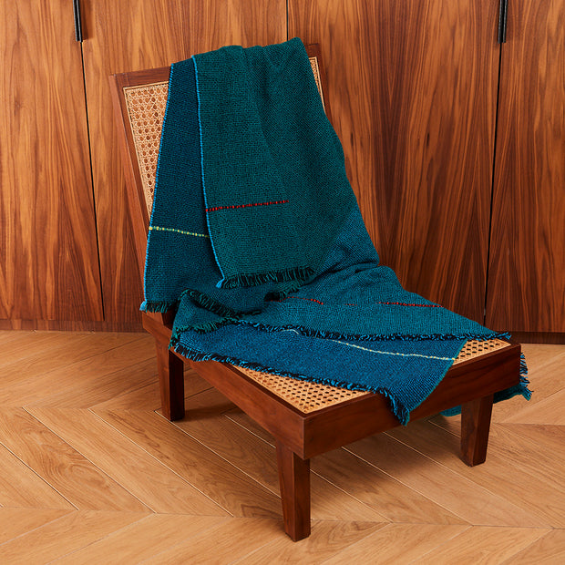 Quaternio Blue 100% Merino Wool Handwoven Throw