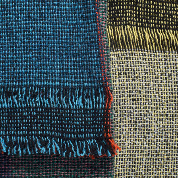 Dark Squares 100% Merino Wool Handwoven Throw