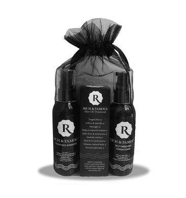 Rich & Famous Discovery Set Includes > Shampoo > Conditioner > Hair Oil