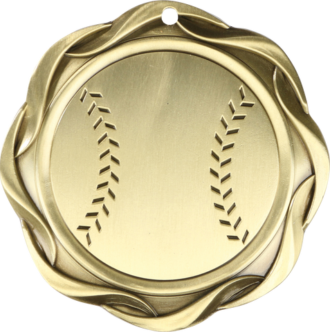 "#45003 Baseball Fusion Medal 3"" with Ribbon"
