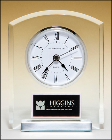 Desk Clock w/ Silver Bezel and Base #BC961