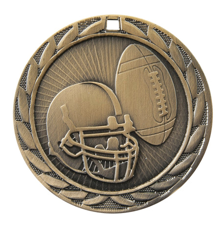 "FE-212 Football Medal 2"" with Ribbon"