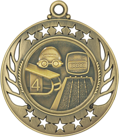 "GM115 Swimming Medal 2.25"" with Ribbon"