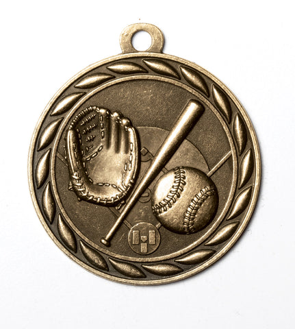 "MS333 Sports Medal - Baseball 2"" with Ribbon"